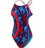 TYR Women's Anik Cutoutfit Swimsuit, Red/White/Blue, Size 36
