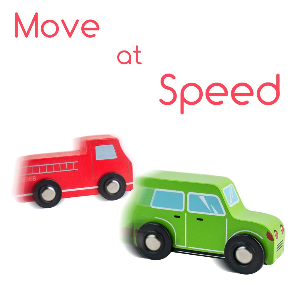 Jerryvon Wooden Car Toys Pull Mini Vehicles Set Smooth & Bright Color Great Travel Kid Toy Gift for Baby Toddlers