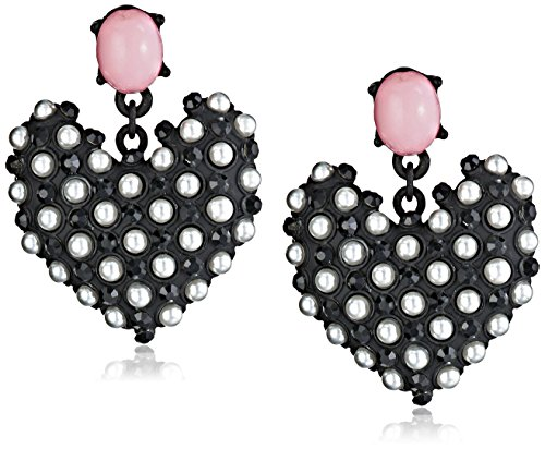Betsey Johnson Wonderland Faux Pearl Heart Drop Pendientes