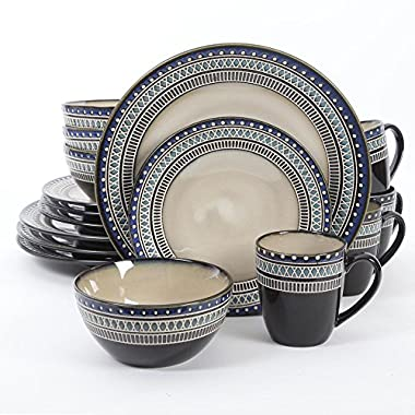 Gibson Magello 16 Piece Dinnerware Set, Cream/Blue