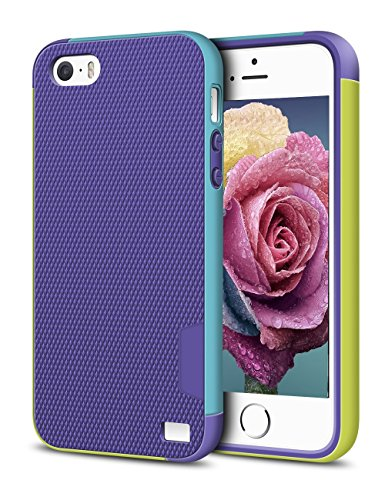 iPhone 5/5S SE Case, EXSEK Hybrid Ultra Slim 3 Color Case Shockproof [Anti-Slip] [Extra Front Raised Lip] Scratch Resistant Soft Gel Bumper Rugged Case for iPhone 5/5S (Purple)