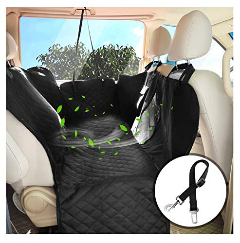 PETDOM Dog Car Seat Covers Hammock for Back Seat – Waterproof Car Seat Covers with Mesh Window Side Flaps Seat Belt Openings – Heavy Duty Car Seat Protector for Cars Trucks SUVs