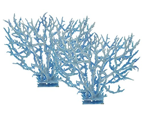Saim Decorative Aquarium Ornament Plastic Coral 2 Set, Light Blue