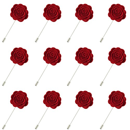 FM FM42 Men Dark Red Rose Flower Lapel Stick Handmade Boutonniere Pin for Suit (Pack of 12)