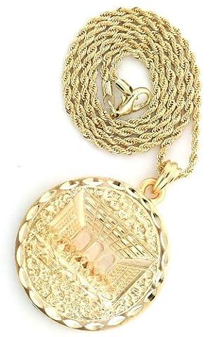 Gold Tone Brush Matt Last Super of Christ Pendant Necklace Free 24