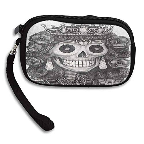 Queen Purses On Sale Day of the Dead Artwork Hand Drawing Folk Skull with Flowers Crown Ornaments W 5.9