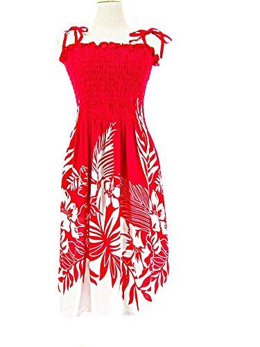 HAWAIIAN FLOWER BORDER SHORT SPAGHETTI STRAP SUN DRESS- ONE SIZE (S-L)-tc085