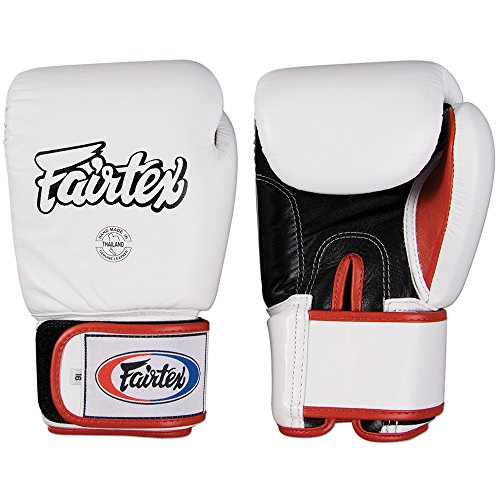 (Fairtex Muay Thai-Style Sparring Glove,White/Black,18 oz)