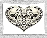 Day Of The Dead Decor Tapestry, Twin Half Fire Design in Hearts Festive Spanish Image Print, Wall Hanging for Bedroom Living Room Dorm, 60 W X 40 L Inches, Cream and Black