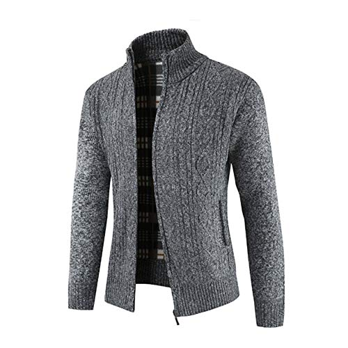 Winter Give for Stand Cardigan Solid Sweater Tops Zipper Mens Coats Men Collar Gray Deep koiu❀❀Winter Coats Outwear wBrqRBX