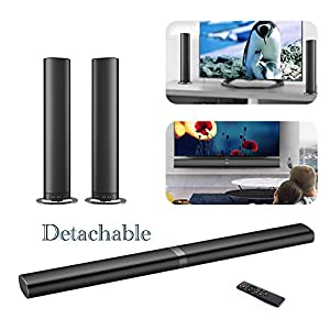 Sound Bar, TV Surround Soundbar Wired and Wireless Audio Home Theater Speaker( 80 Watt, 38-Inch, 6 Speakers, 2 Bass Reflex Tubes, Remote Control, Wall Mountable, Aluminium Material) (Silver Gray)
