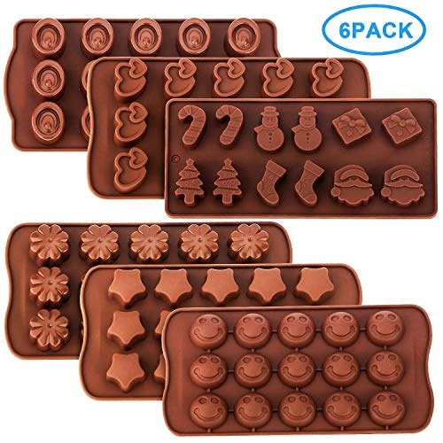 RUCKAE Chocolate Molds-Silicone Candy Molds-6 Pack-Ideal Silicone Molds for Hearts, Stars,Flowers,Emojis, Christmas Themed Shapes