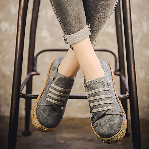 Ladies Leather Shoes Suede Ankle Women Riou Female Single Lace Flat Up Boots Gray Soft zfqAW5wB