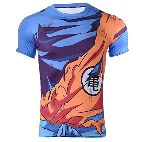 Goku Damaged Battle Armor Dragon Ball Z Fitted Compression Tshirt (Goku Short, S)