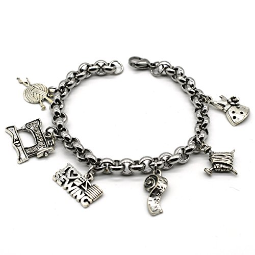 Love Charm Links (Stainless Steel Link Charms Bracelet, I Love Sewing, Handmade in USA, ML02)
