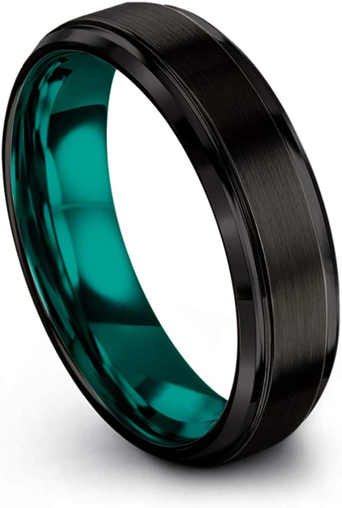 Chroma Color Collection Tungsten Carbide Wedding Band Ring 6mm for Men Women Green Red Blue Purple Black Copper Fuchsia Teal Interior with Step Bevel Edge Brushed Polished