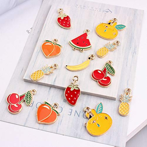 New Mixed Fruit Watermelon Strawberry Banana Cherry Pineapple Gold Color Jewelry | Bracelet Charms (50Pcs 12-24Mm)