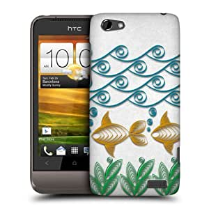 Head Case Designs Fish in the Sea Quilling Protective Snap-on Hard Back Case Cover for HTC One V by ruishername