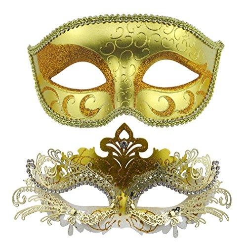 Couple Masquerade Metal Masks Venetian Halloween Costume Mask Mardi Gras Mask (Gold+Gold-White) (Gold Mardi Gras Mask)