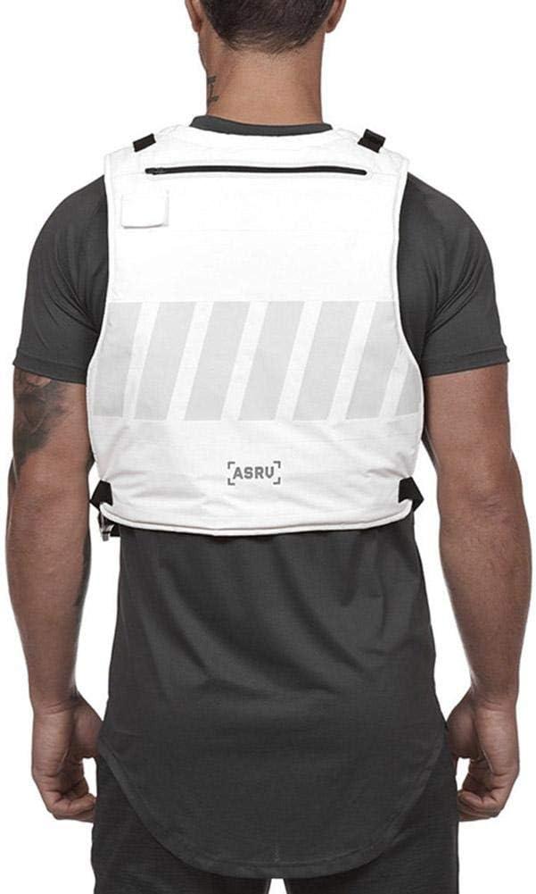 Nachtlaufweste Reflektierende Warnweste Mit Taschen Multifunktionale Bedruckte Weste F/ür Laufen Und Training Im Freien