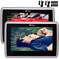 9 Inch HD Wide Screen Touch Keys Silver Car Monitor LCD Dual Headrest DVD Player Screen Car Headunit x 2 built-in IR FM Transmitter Support 1080P Video Backseat CD Player with Cigar Lighter Charger