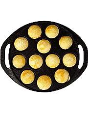 AH Cast Iron 12 Cavity Paniyaram/Paddu/Ponganalu Pan/Kallu/Chatti (9inch, Pre-seasoned & Naturally Non-stick) (Cast Iron)