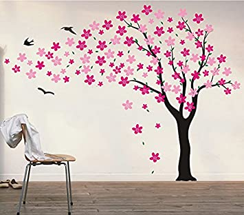 8f354fc30bb2 Pop Decors PT-0134-V4 Drifting Flowers and Birds 71-Inch Height, Flowers Go  Left, Black/Hot Pink/Pink Beautiful Wall Decals Nursery Decor: Amazon.ca:  Baby