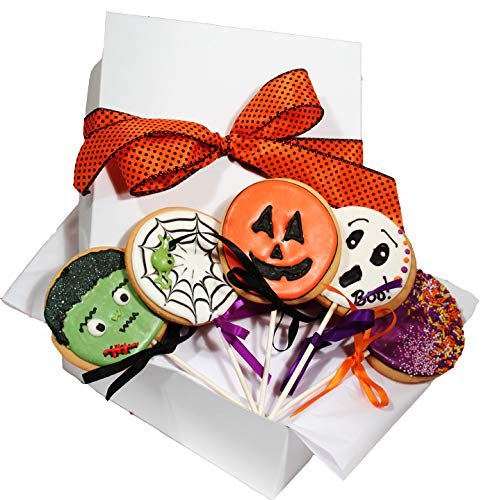 Halloween Cookie Gift Basket 5 Decorated Cookies Gourmet Great Spooky Trick or Treat Gift Idea for Boys Girls Kids Adults Men Women PRIME DELIVERY by Custom Cookies