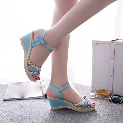Amiley Sandalen Slippers Flip-flop Voor Dames, Zomer Sleehakken Dames Sandalen Flip Flops Blauw