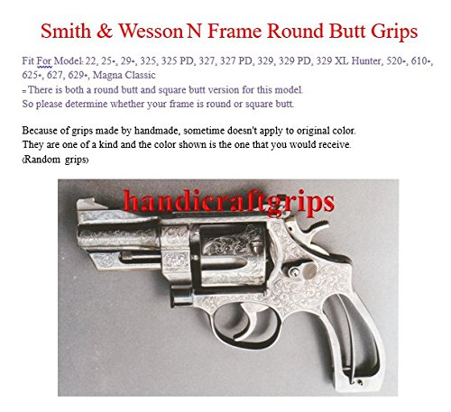 New Smith & Wesson N Frame Round Butt Grips Checkered Hardwood Open Back  #NRW01