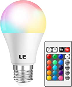 LE RGB Color Changing Light Bulbs with Remote, Dimmable 40 Watt Equivalent Warm White, A19 E26 Screw Base for Home Decor, Bedroom, Stage, Party and More
