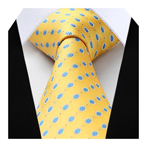 HISDERN Extra Long Floral Dots Tie Handkerchief Men's Necktie & Pocket Square Set,Yellow & Blue,XL, 63 inches length