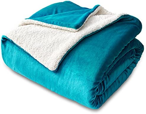 Bedsure Sherpa Fleece Blanket Throw Size Teal Plush Throw Blanket Fuzzy Soft Blanket Microfiber