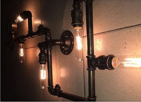 Electro_BP;Vintage Metal Water Pipe Wall Lamp Max 200W With 5 Lights Painted Finish