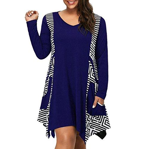 Poofy Sleeve Top - BODOAO Womens Plus Size Dress Long Sleeve V-Neck Asymmetrical Mini Dress with Pockets