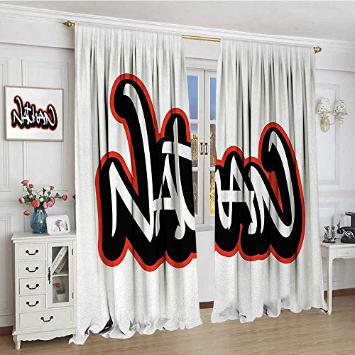 Nathan Thermal (smallbeefly Nathan Thermal Insulating Blackout Curtain Artistic Boys Name Graffito Wall Writing Design for Men Doodle Style Patterned Drape For Glass Door 72