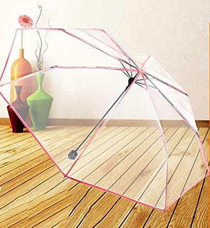 Paraguas Transparente Plegable Tres Sombrilla Plegable Pareja Manual Estudiantes Hombres Y Mujeres Color Sólido Transparente Transparente