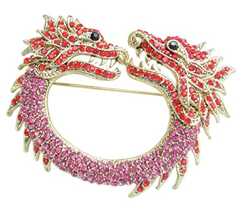 Chinese Dragon Brooch Pin Pendant Rhinestone Crystal BZ5007 (Gold-Tone Pink Red) ()