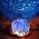 wall lamp kids - Star Night Light for Children, Universe Projection Lamp for Kids' Bedroom, Romantic Rotating Star Sea LED Lamp for Baby Nursery, Best Birthday Christmas Gifts - 5 Sets of Film