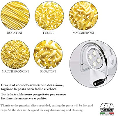 Marcato Atlas Regina Extruder Pasta Maker Made in Italy Chrome-Plated Steel and Shockproof Plastic Includes 5 Dies /& Instructions White
