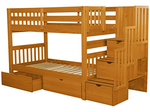 Bedz King Stairway Bunk Beds Twin over Twin with 3 Drawers in the Steps and 2 Under Bed Drawers, Honey