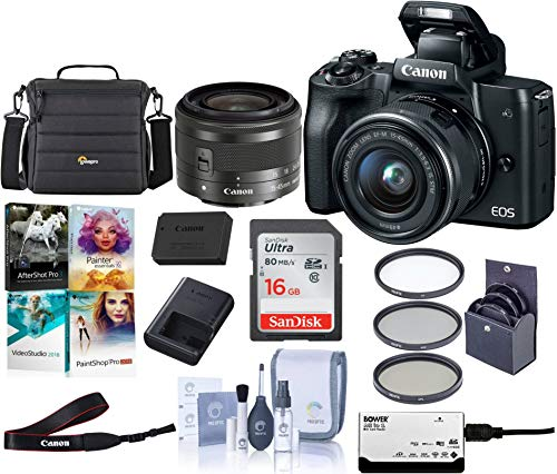 Canon EOS M50 Mirrorless Camera with EF-M 15-45mm f/3.5-6.3 is STM Lens, Black – Bundle with 16GB SDHC Card, Camera Case, 49mm Filter Kit, Cleaning Kit, Card Reader, Pc Software Package