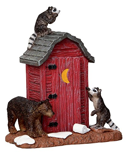 Lemax Village Collection Outhouse Marauders Raccoons and Bear #24492