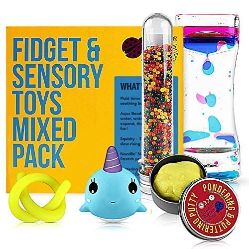 (Fidget Toys Mix Pack - Mixed Pack of 5 Sensory Toys for Stress Relief Includes Liquid Motion Timer, Slow Rising Squishy Toy, Color Changing Therapy Putty for Kids, Stretchy Noodle, Kids Water Beads)