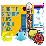 Fidget Toys Mix Pack - Mixed Pack of 5 Sensory Toys for Stress Relief Includes Liquid Motion Timer, Slow Rising Squishy Toy, Colour Changing Therapy Putty for Kids, Stretchy Noodle, Kids Water Beads