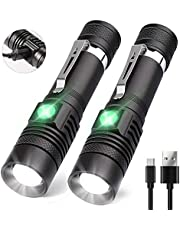 Aomees LED Torch Powerful Flashlight Torches USB Rechargable for Camping [2 Pack]