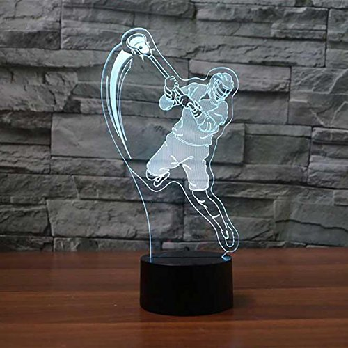 3D Lacrosse Player Night Light 7 Color Change LED Table Desk Lamp Acrylic Flat ABS Base USB Charger Home Decoration Toy Brithday Xmas Kid Children Gift ()
