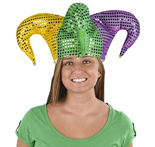 Costume Holding Your Own Head (MARDI GRAS SEQUIN JESTER HAT, Whether you holding court in the French Quarter or partying it up on your own turf, this jester hat will surely turn heads!)