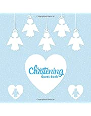 """Christening Guest Book: keepsake Message log With Gift Log, Photo Pages, For Family And Friends To Write Sign In, Use At Baby Baptism, Naming Ceremony, Baby Dedication, Church, Home Party, Wishes And Comments, Boys & Girls 8.5""""x8.5"""" Paperback"""