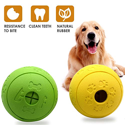 Focuses Dog Treat Ball, Durable Rubber Treat Food Dispenser, Non-Toxic Chew Toys, Interactive Dog Toys for Pet Puppies and Cat Chewing, Playing, Pet Exercise Game Ball IQ Training Ball (Treat Balls For Dogs)